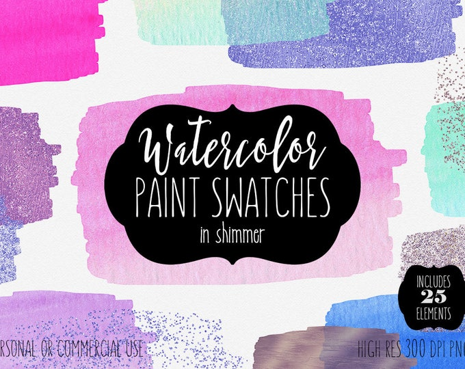 PINK WATERCOLOR PAINT Rectangles Clipart Commercial Use Clipart 25 Watercolor Brush Strokes Pink Blue Rose Gold Confetti Textures Graphics