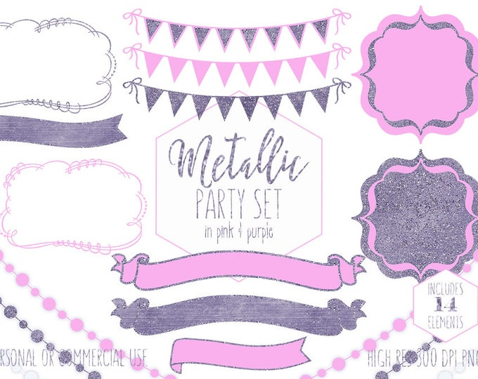 PINK & PURPLE PARTY Clipart for Commercial Use Planner Clip Art Glitter Bunting Banners Frames Glowing Lights Birthday Digital Graphics