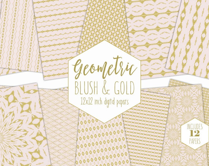 BLUSH PINK & GOLD Digital Paper Pack Tribal Backgrounds Metallic Geometric Scrapbook Papers Arrow Patterns Party Printable Commercial Use