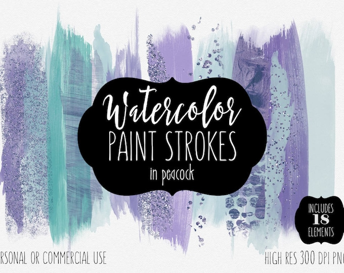 PURPLE & TEAL PAINT Strokes Clip Art Commercial Use Clipart Watercolor Brush Strokes and Metallic Confetti Watercolour Texture Logo Graphics