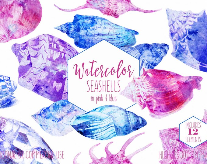 WATERCOLOR BEACH SHELLS Clipart Commercial Use Clip Art Seashells Purple Pink Blue Sea Shells Ocean Tropical Island Digital Wedding Graphics