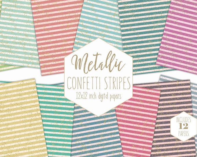 STRIPE DIGITAL PAPER Pack Gold Dust Confetti Backgrounds Rainbow Scrapbook Papers Striped Patterns Party Printable Commercial Use Clipart