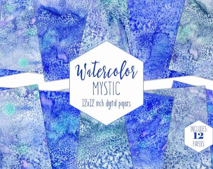 ROYAL BLUE WATERCOLOR Digital Paper Pack Commercial Use Blue Backgrounds Ocean Scrapbook Papers Moonrock Mystic Real Watercolour Textures