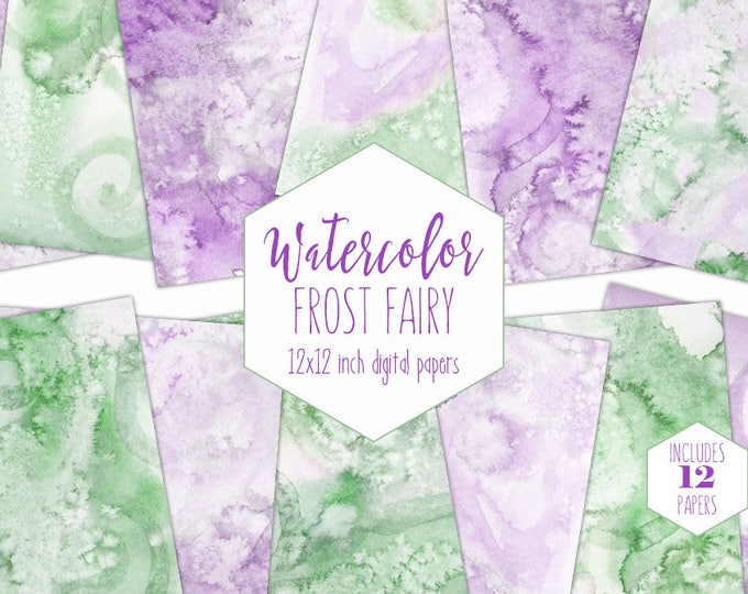 LEAF GREEN WATERCOLOR Digital Paper Commercial Use Lavender Backgrounds Purple Scrapbook Paper Real Watercolour Textures Baby Shower Clipart