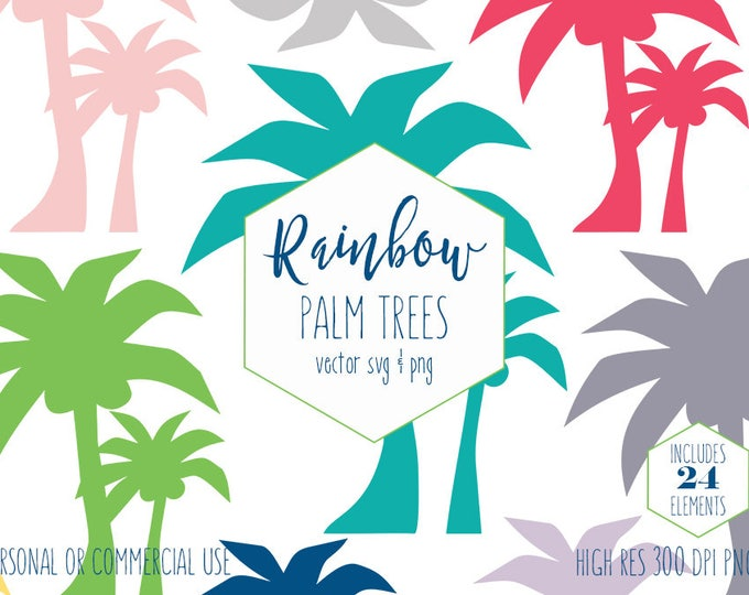 PALM TREE CLIPART for Commercial Use Planner Sticker Clip Art Summer Tropical Beach Decor Images Rainbow Colors Vector Digital Graphics Svg