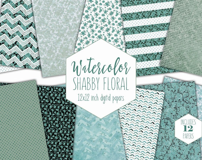 AQUA WATERCOLOR FLORAL Digital Paper Pack Commercial Use Shabby Chic Flower Backgrounds Teal Polka Dot Scrapbook Papers Handwriting Patterns