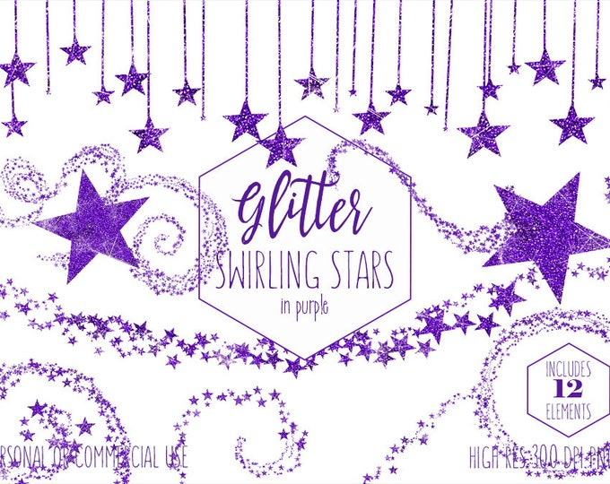 PURPLE GLITTER STAR Clipart Commercial Use Clip Art Metallic Ultra Violet Celestial Stars Bunting Banner & Frame Night Sky Digital Graphics