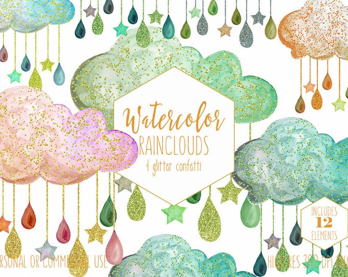 PEACH & MINT BABY Clipart Commercial Use Clip Art Watercolor Rain Clouds Pink Green Gold Glitter Confetti Raindrops Stars Shower Graphics