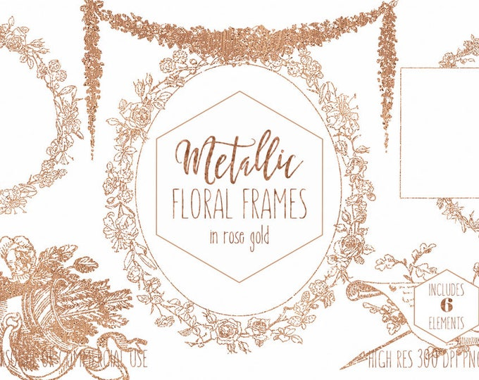 ROSE GOLD FLORAL Clipart for Commercial Use Clip Art Metallic Foil Wedding Frames Wreaths Garland Arrows Romantic Flowers Digital Graphics