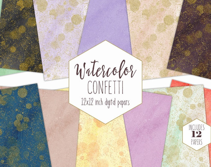 GOLD CONFETTI DOT Watercolor Digital Paper Pack Commercial Use Backgrounds Metallic Gold Scrapbook Papers Peach Blush Mint Gray Textures