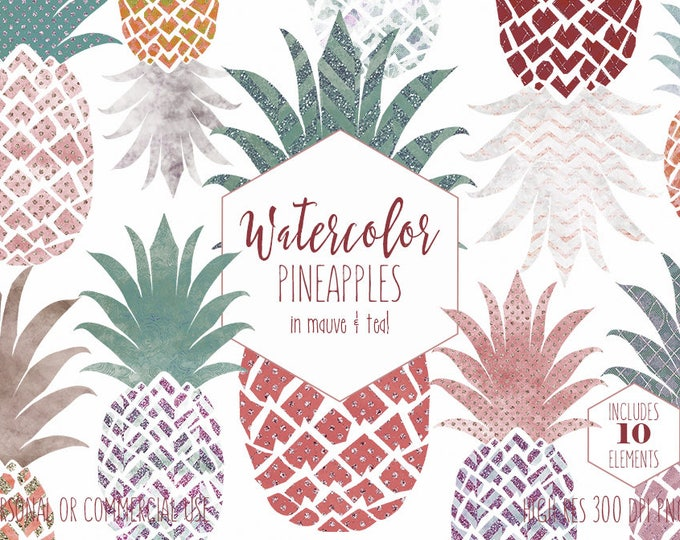 TROPICAL PINEAPPLES CLIPART Commercial Use Clip Art with Metallic Glitter Mauve Teal Watercolor Pineapple Fruit Planner Sticker Graphics