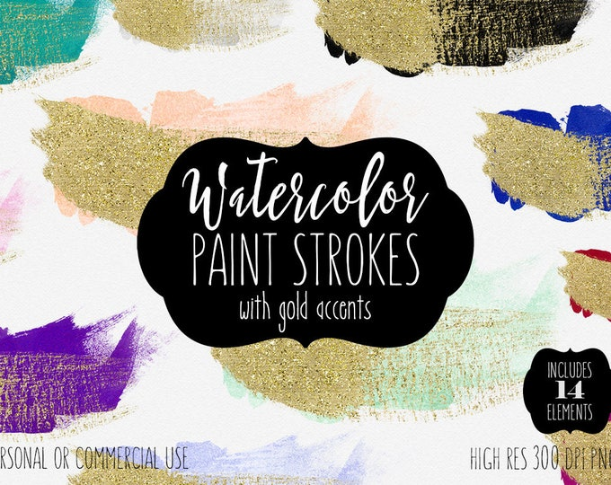 GOLD BRUSH STROKES Clipart Commercial Use Clip Art 14 Watercolor Paint Gold Metallic Confetti Graphics Watercolor Brushes for Logo Design