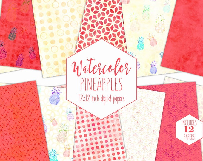 CORAL WATERCOLOR PINEAPPLE Digital Paper Pack Commercial Use Tropical Backgrounds Yellow Pineapple Fruit Scrapbook Paper Watercolor Patterns