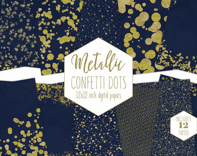GOLD FOIL & NAVY Blue Digital Paper Pack Confetti Backgrounds Metallic Wedding Scrapbook Paper Gold Dot Patterns Party Printable Clipart