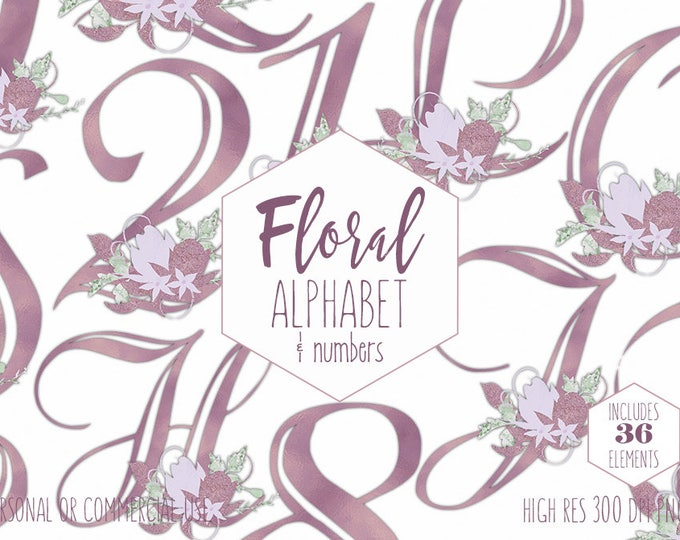 MAUVE FLORAL ALPHABET Clipart for Commercial Use Wedding Monogram Clip Art Lavender Purple Foil Girly Letters & Numbers Digital Graphics
