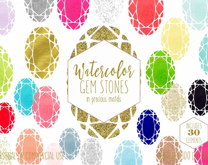 OVAL WATERCOLOR GEMS Clipart Commercial Use Clipart Metallic Gemstones Silver Rose Gold Confetti Cut Diamond Rhinestones Glitter Graphics