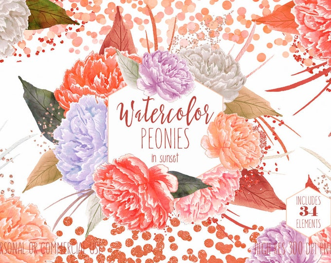 PEACH WATERCOLOR PEONY Clipart Commercial Use Clip Art Coral Peonies Metallic Copper Confetti Watercolor Floral Wedding Invitation Graphics