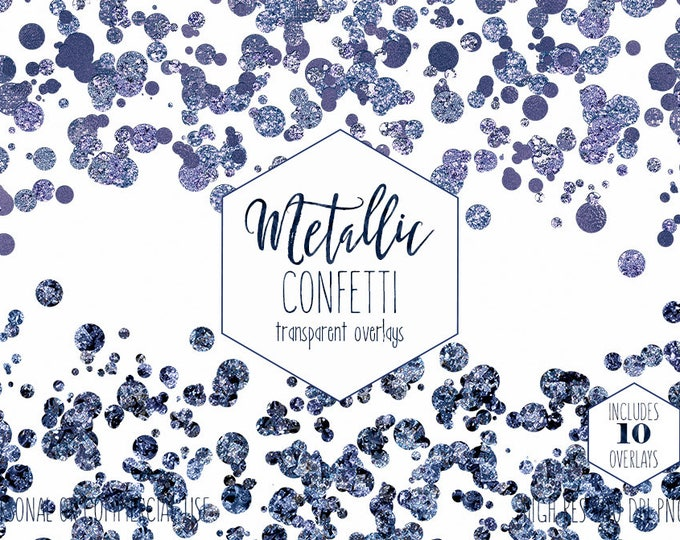 NAVY BLUE CONFETTI Overlay Clipart for Commercial Use Clip Art Transparent Borders Purple Metallic Party Wedding Invitation Digital Graphics
