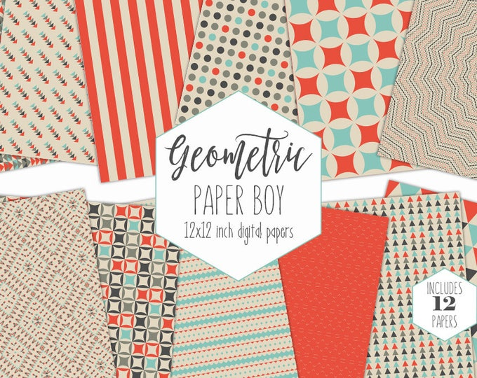 GEOMETRIC BOYS Digital Paper Pack Orange Blue & Gray Backgrounds Triangle Scrapbook Papers Arrow Patterns Birthday Party Printable Clipart