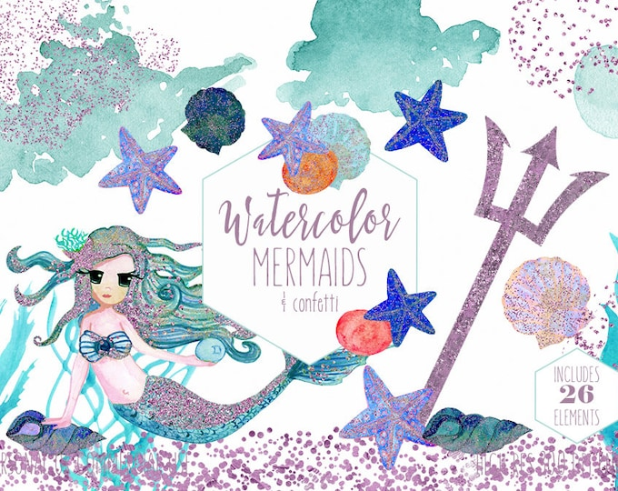 CUTE MERMAID CLIPART Commercial Use Clip Art Teal & Pink Watercolor Mermaids Glitter Confetti Ocean Sea Shells Starfish Trident Graphics