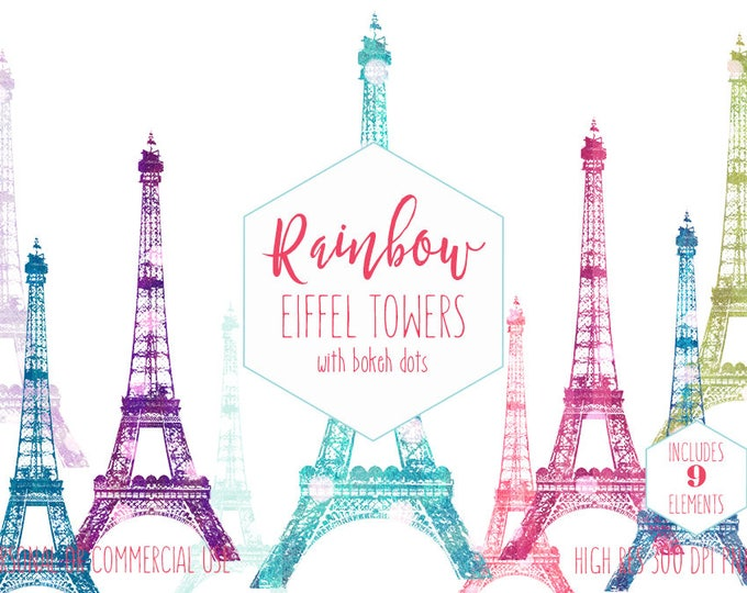 PARIS EIFFEL TOWER Clipart for Commercial Use Girls Clip Art for Kids Pastel Bokeh Dots Rainbow Bokeh Pastel Colors France Digital Graphics