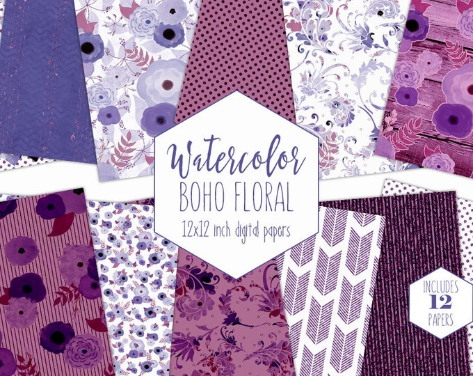 MAUVE WATERCOLOR FLORAL Digital Paper Pack Purple Metallic Commercial Use Clipart Backgrounds Wood Scrapbook Paper Bohemian Wedding Patterns