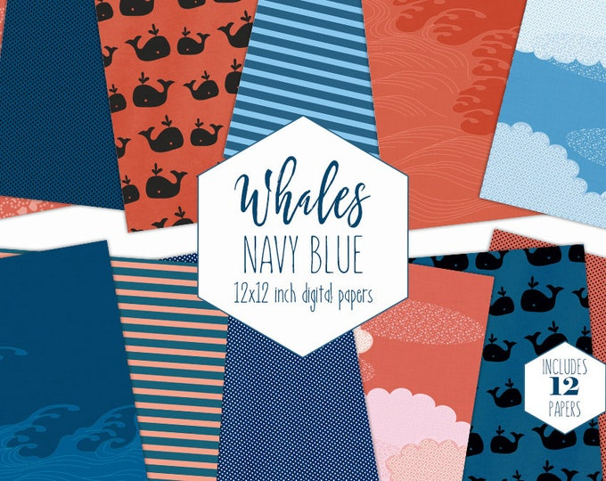 NAVY BLUE WHALE Digital Paper Pack Nautical Backgrounds Clouds Stripes Scrapbook Paper Ocean Waves Patterns Party Printable Baby Boy Clipart