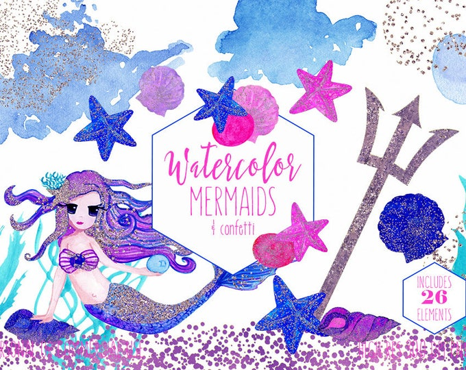 WATERCOLOR MERMAID Clipart Commercial Use Clip Art 26 Purple Pink & Blue Metallic Under the Sea Watercolour Ocean Girly Fantasy Graphics