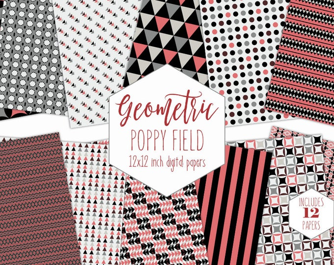 BLACK & CORAL PINK Digital Paper Pack Triangle Backgrounds Stripe Scrapbook Papers Geometric Patterns Party Printable Commercial Use Clipart