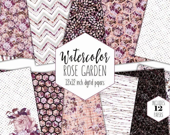 BLUSH & BURGUNDY WATERCOLOR Digital Paper Pack Commercial Use Backgrounds Pink Floral Scrapbook Papers Shabby Chic Wood Hexagon Patterns