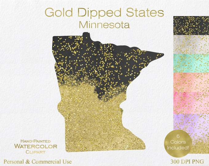 WATERCOLOR & GOLD MINNESOTA Clipart Commercial Use Clipart United States Shape Wedding Clipart Gold Confetti Dust Minnesota Clip Art Graphic