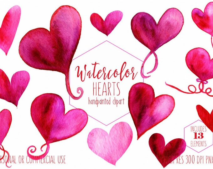 VALENTINE'S DAY Clipart Commercial Use Clip Art Hand Painted Watercolor Hearts Pink & Red Heart Graphics Heart Romantic Love Wedding Clipart