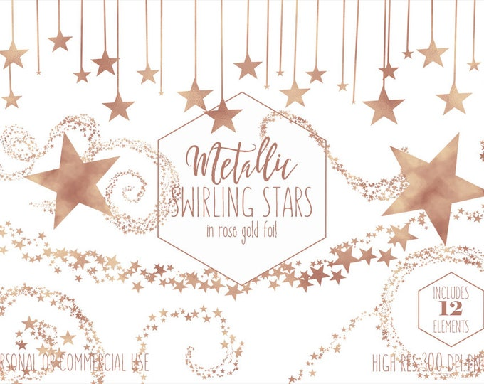 ROSE GOLD STAR Clipart Commercial Use Planner Clip Art Metallic Foil Star Shapes Night Sky Celestial Borders Baby Teacher Digital Graphics