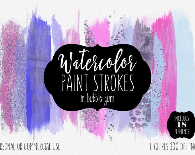 PINK PAINT STROKES Clip Art Commercial Use Clipart Watercolor Brush Stroke Blog Header Purple Blue Confetti Watercolour Paint Logo Graphics