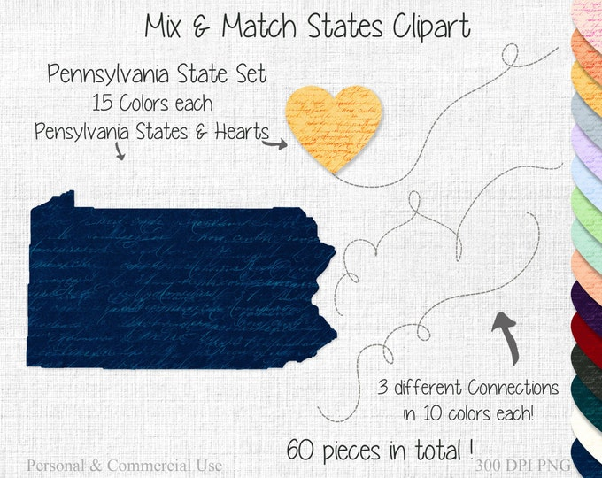 PENNSYLVANIA STATE to STATE Clipart Commercial Use Clipart Mix & Match Home State Wedding Clipart Penn State Map United State Shapes Clipart