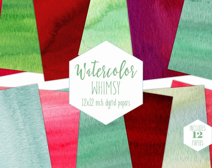 GREEN & RED WATERCOLOR Digital Paper Pack Commercial Use Holiday Backgrounds Christmas Scrapbook Papers Watercolor Wash Textures Clipart