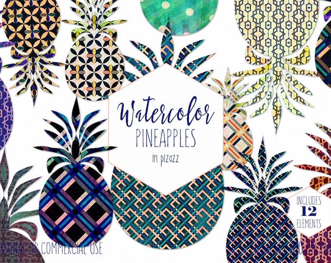 GEOMETRIC PINEAPPLES Clipart Commercial Use Clip Art Fun Bold Tropical Pineapples Navy Watercolor Pineapple Fruit Graphics Plaid Polka Dot