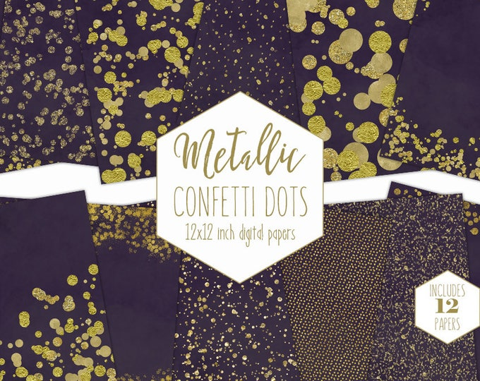 GOLD FOIL & PURPLE Digital Paper Pack Confetti Backgrounds Metallic Eggplant Scrapbook Paper Dot Patterns Party Printable Commercial Use