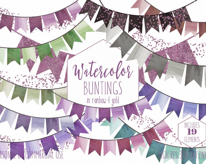 WATERCOLOR BUNTING BANNERS Clipart Commercial Use Clip Art Watercolour Flags Greenery & Rose Pink Confetti Wedding Party Invitation Graphics