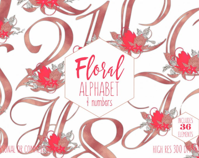 FLORAL ALPHABET Clipart Commercial Use Letters & Numbers Clip Art Wedding Monograms Rose Gold Metallic Foil Coral Flowers Digital Graphics