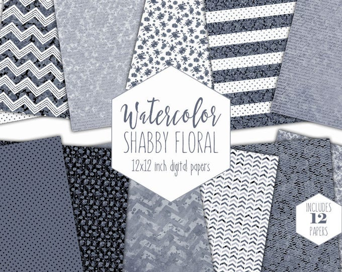 GRAY WATERCOLOR FLORAL Digital Paper Pack Commercial Use Flower Backgrounds Shabby Chic Scrapbook Papers Watercolour Black Stripe Patterns