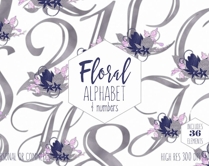 SILVER FOIL ALPHABET Clipart for Commercial Use Navy Blue Floral Letters & Numbers Clip Art Wedding Monograms Metallic Digital Graphics Png