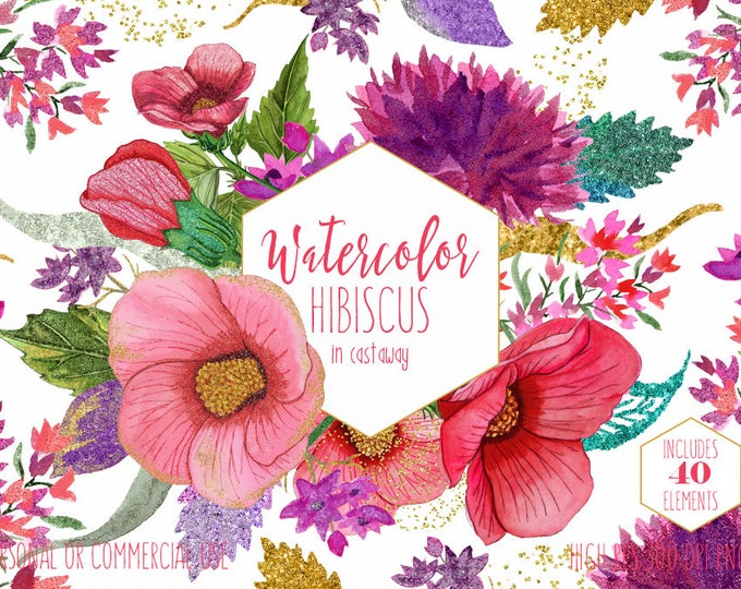 TROPICAL HIBISCUS Watercolor Floral Clipart Commercial Use Clip Art Hawaii Beach Flowers Pink & Gold Metallic Wreaths Invitation Graphics