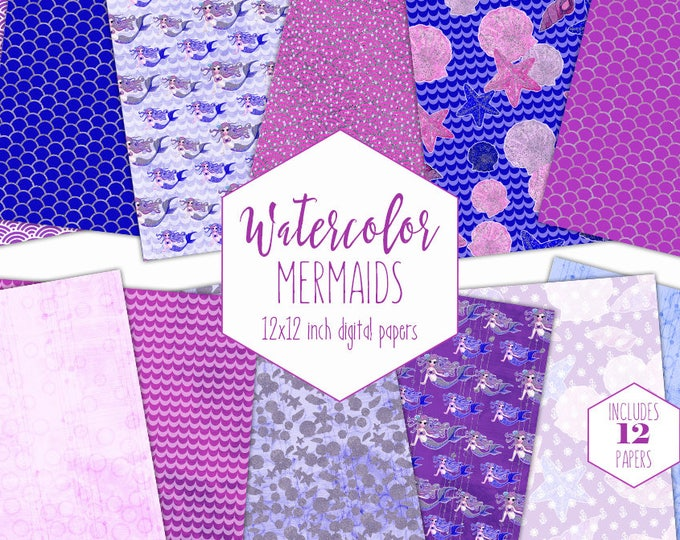 MERMAID DIGITAL PAPER Pack Commercial Use Pink Under the Sea Backgrounds Royal Blue Mermaid Scales Scrapbook Papers Ocean Birthday Patterns