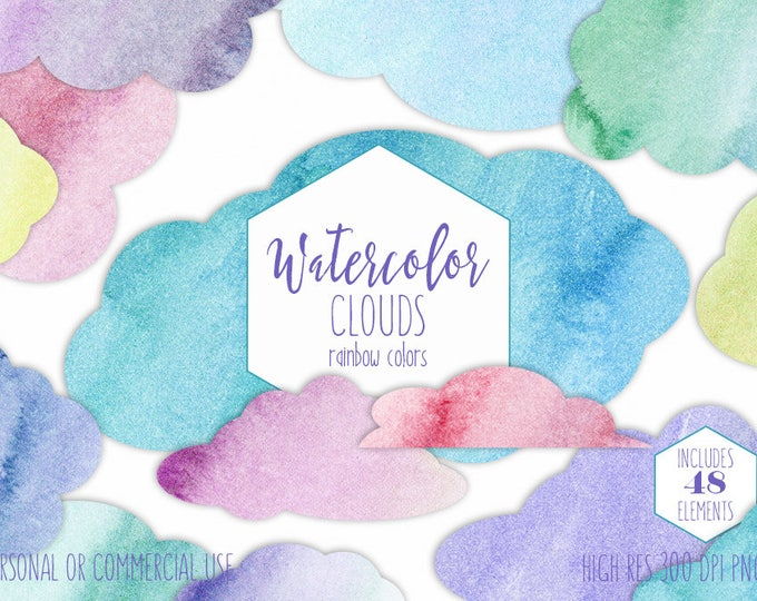 RAINBOW WATERCOLOR CLOUDS Clipart Commercial Use Clip Art Watercolour Sky Cloud Shapes Fluffy Pink Purple Blue Planner Sticker Graphics