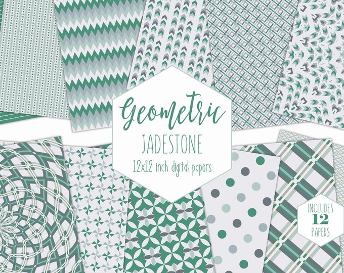 JADE GREEN Digital Paper Pack Mint Geometric Plaid Backgrounds Mandala Scrapbook Paper Arrow Patterns Party Printable Commercial Use Clipart