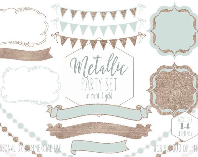 MINT & ROSE GOLD Party Clipart Commercial Use Planner Clip Art Bunting Banners Frames Fairy Lights Birthday Party Wedding Digital Graphics