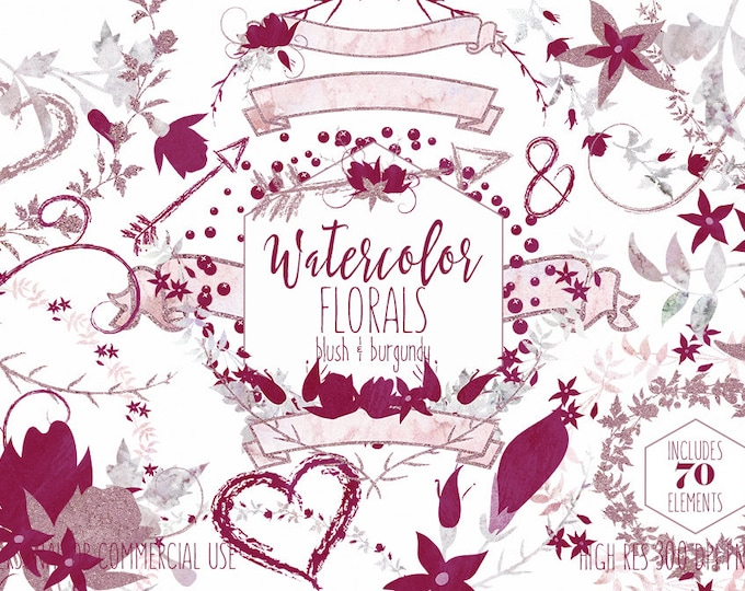 BURGUNDY WATERCOLOR FLORAL Clipart Commercial Use Clip Art Wedding Graphics Blush Pink & Wine Flower Bouquets Floral Wreaths Banners Arrows