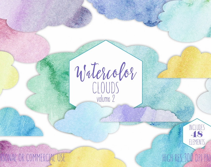 CUTE CLOUD CLIPART Commercial Use Clip Art Watercolor Rainbow Sky Cloud Shapes Kids Blue Pink Purple Clouds Digital Planner Sticker Graphics