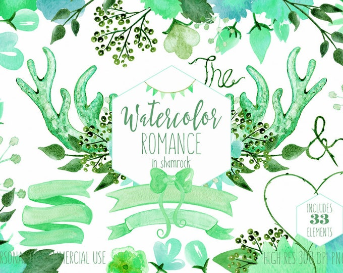 MINT FLORAL CLIPART Commercial Use Clip Art Watercolor Deer Antlers Spring Lime Green Flower Bouquets Banner Digital Papers Wedding Graphics